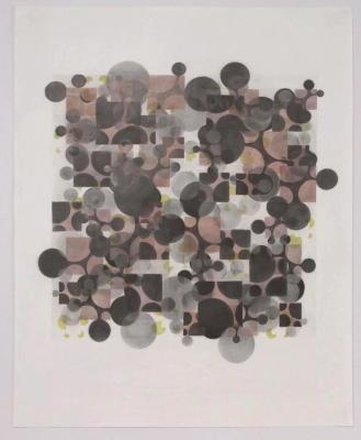 "Beth Caspar, Morphed Square #1 (Red/Green), graphite on paper, 29"" x 23"", 2007"