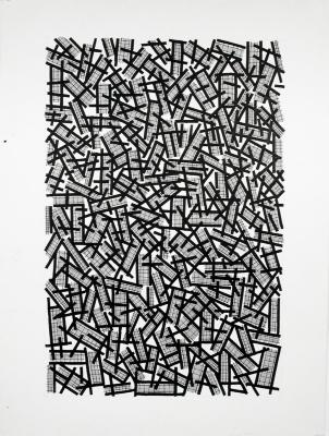 "Ernst Benkert, Zig Zag #2, ink on paper, 30"" x 22"", 1991"