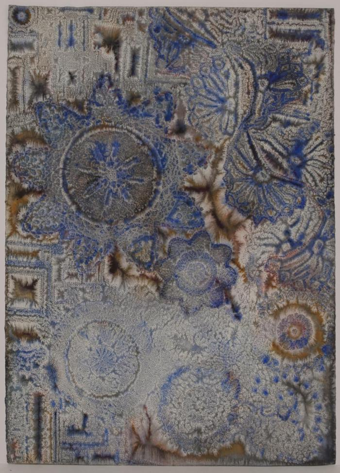 "David Ambrose, Architectural Fragments with Lace Entanglements, watercolor and gouache on pierced paper, 30"" x 22"", 2011"