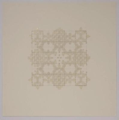"Marietta Hoferer, Small Crystal #1, tape and pencil on paper, 21"" x 21"", 2005"