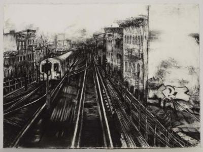 "Janell O'Rourke, M Train #7, charcoal on paper, 22.5"" x 30"", 2007"