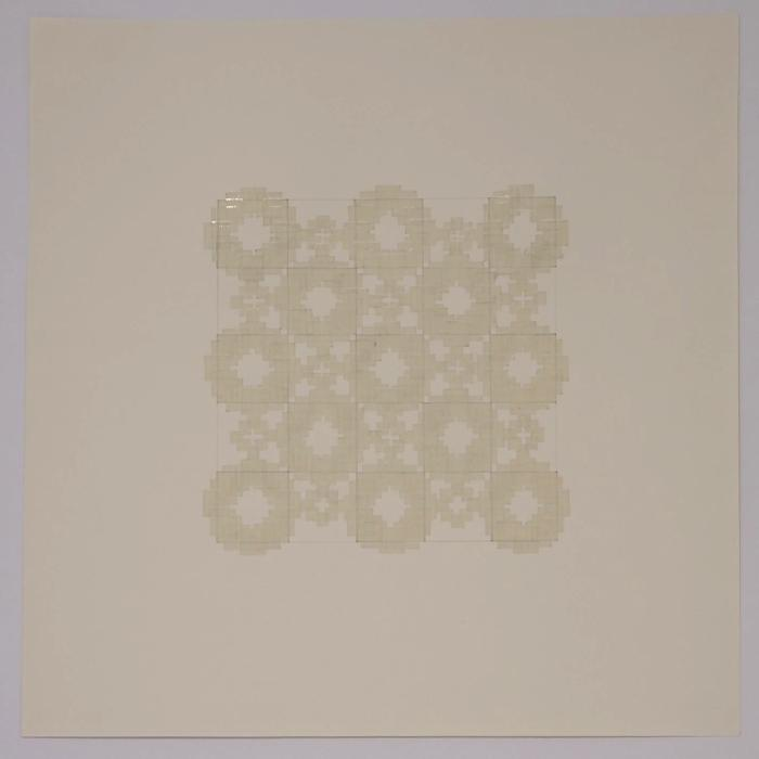 """Marietta Hoferer, Small Crystal #2, tape and pencil on paper, 21"""" x 21"""", 2005"""
