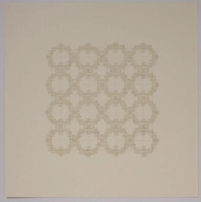 "Marietta Hoferer, Small Crystal #5, tape and pencil on paper, 21"" x 21"", 2005"