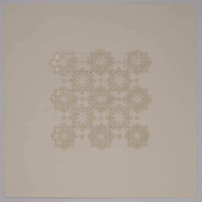 """Marietta Hoferer, Small Crystal #3, tape and pencil on paper, 21"""" x 21"""", 2005"""