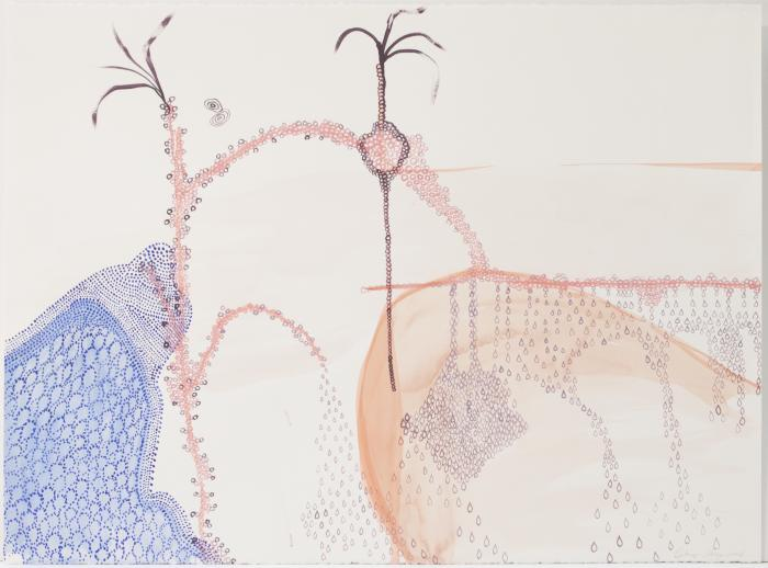 """Hilary Lorenz, Untitled (Dotted), Water media on paper, 22"""" x 30"""", 2005"""