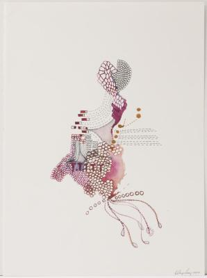 "Hilary Lorenz, Untitled (Pink), Water media on paper, 9"" x 12"", 2006"