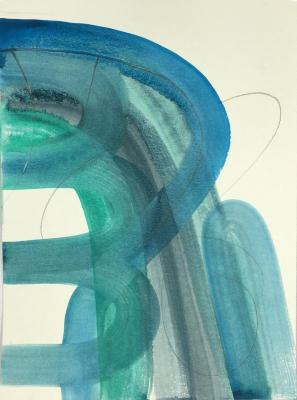 """""""Lower,"""" gouache & colored pencil on paper, 12"""" x 9"""", 2012"""