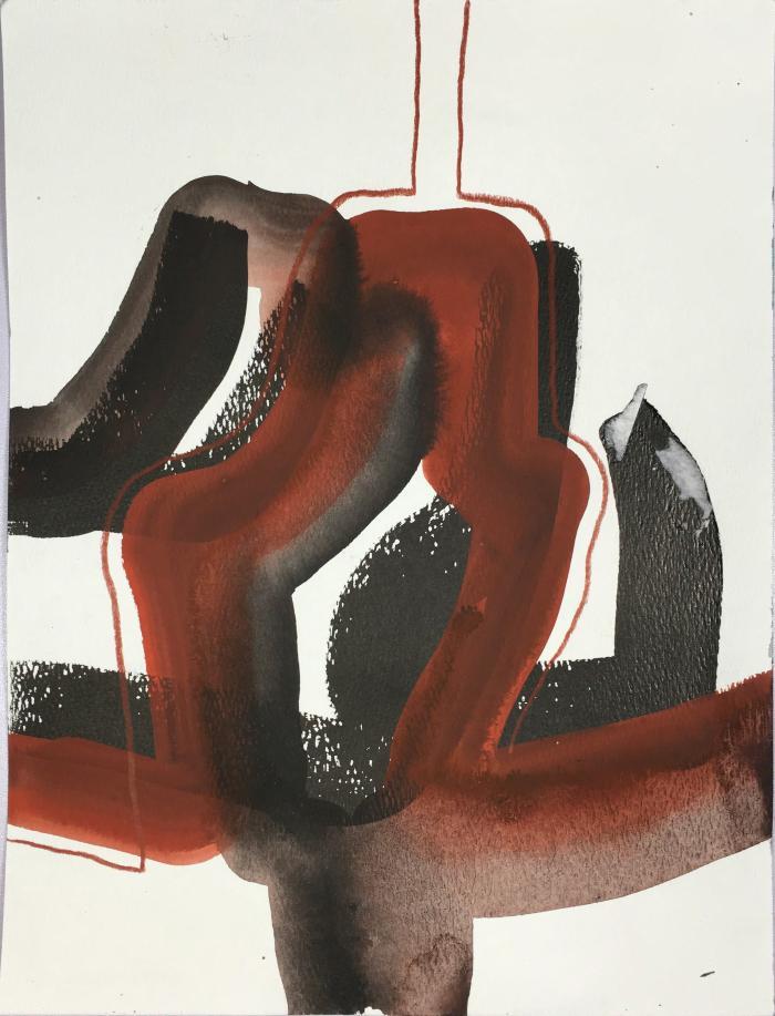 """Surveyor,"" ink, gouache, pencil on paper, 12 x 9"", 2013"""