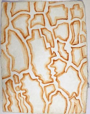 """Pine Tree Bark 7,"" Georgia clay on handmade paper, 12.5"" x 9.5"", 2007"