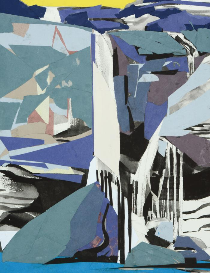 """Mariella Bisson, Waterfall Steals Your Blues Away, collage on paper, 24"""" x 18"""", 2016"""