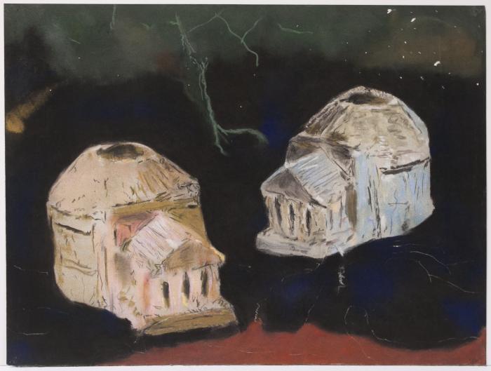 "Herb Reichert, Two Pantheons, pastel on paper, 22"" x 30"", 2006"