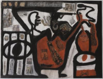 """Orlando Richards, Stock and Awe, charcoal and pastel on paper, 18"""" x 23.5"""", 2008"""