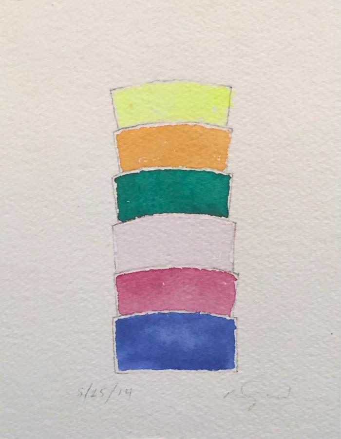 "Ron Gorchov, Study, watercolor and pencil on paper, 8.75"" x 6.75"", 2014"