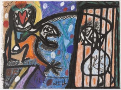 "Orlando Richards, Free Will, charcoal and pastel on paper, 18"" x 23"", 2006"
