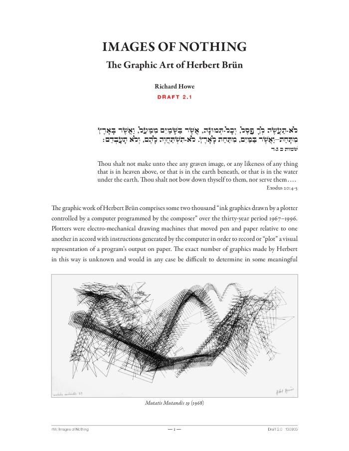 The Graphics, Music and Writings of Herbert Brün