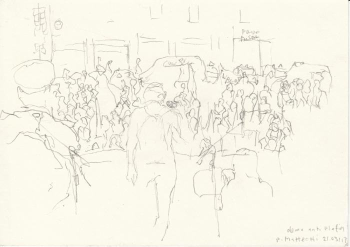 Doris Schlaepfer, Piazza Matteotti, Demonstration Anti-Mafia