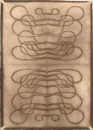"""Automatic Writing Series no. 17, powdered pigment on 100% rag paper, 10"""" X 7"""", 1999."""