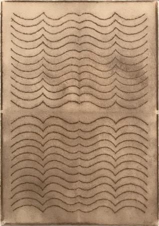 """Automatic Writing Series no. 16, powdered pigment on 100% rag paper, 10"""" X 7"""", 1999"""