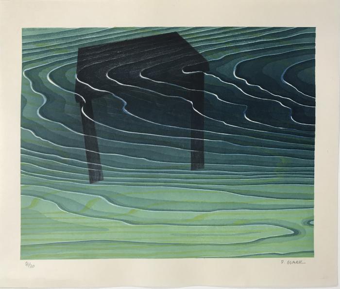 "The Water Table, Edition: 8/30, mokuhanga on Echizen Hongusa Torinoko Washi Paper, 11 1/8"" x 13 1/4"", 2018 / Master Printer: Kitamura Shoichi"