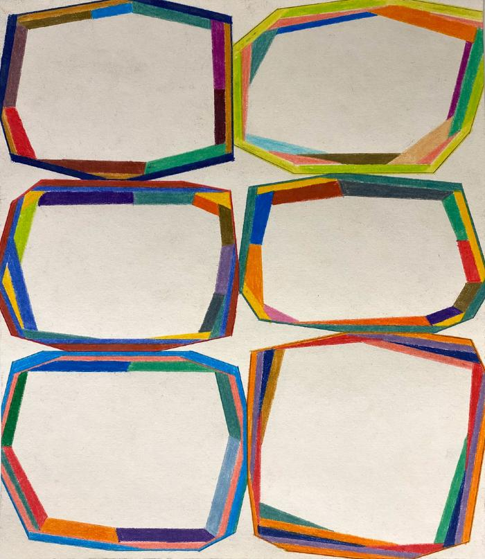 "Erick Johnson, ""Segmented Polygons #5,"" colored pencil on paper, 10.25 x 9"", 2020"