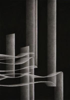Taney Roniger, Other Rivers #4 (Vertical Bands), charcoal on watercolor paper, 58 x 40 in, 2020