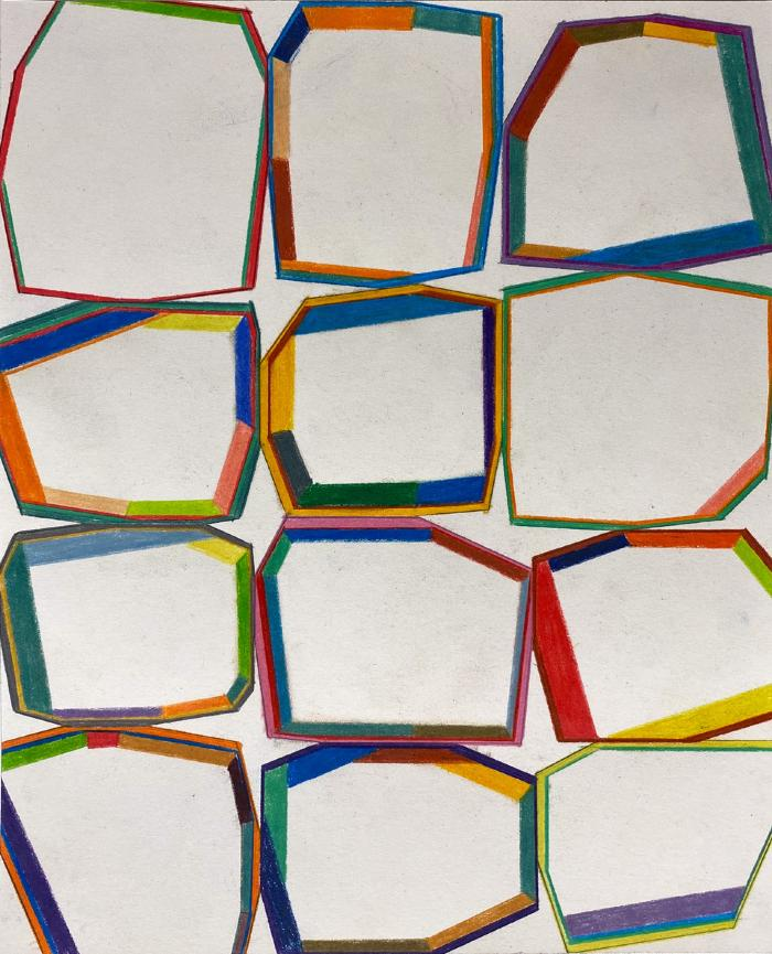 "Erick Johnson, ""Segmented Polygons #4,"" colored pencil on paper, 11.25 x 9"", 2020"