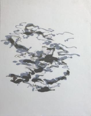 Peter Schroth, Cadaques 18/4, marker on rice paper, 2018