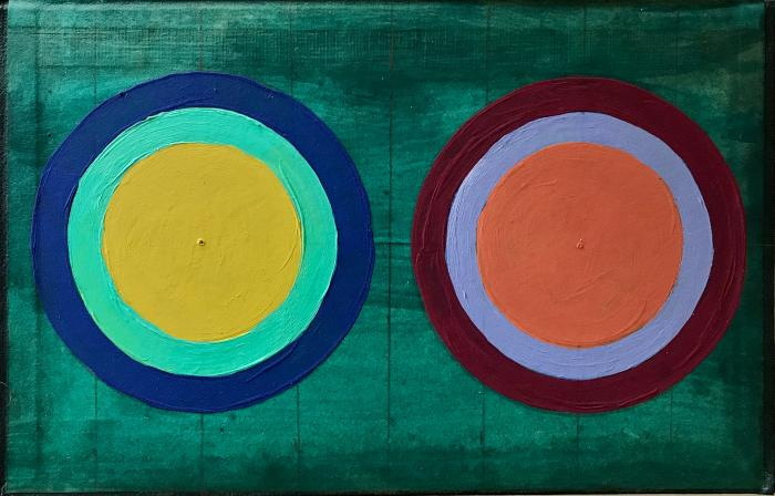 """Alyce Santoro, Two Circles, mixed media on book cover, 8.75 x 5.75"""", 2020"""