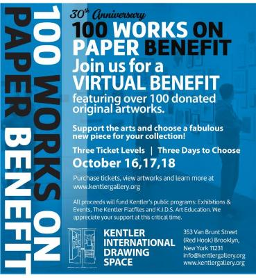 100 Works on Paper Virtual Benefit:  Oct. 16, 17, 18