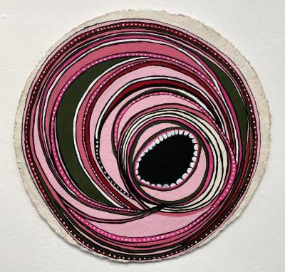 "Erin Antonak, ""Ruminations,"" acrylic, charcoal, ink on paper mounted on wood, 16"" circumference, 2020 (unframed)"