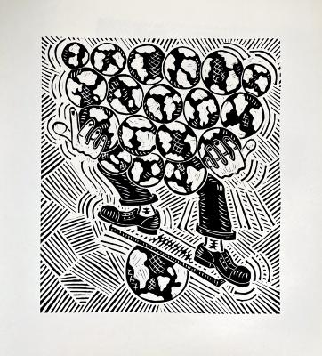 Richard Mock, linoleum block print