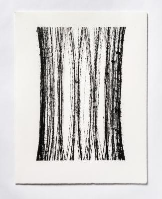 "Lynne Tobin, Pillar Series #2, ink on paper, 15 x 11.5"", 2020 (photo credit: Kenneth Elk)"