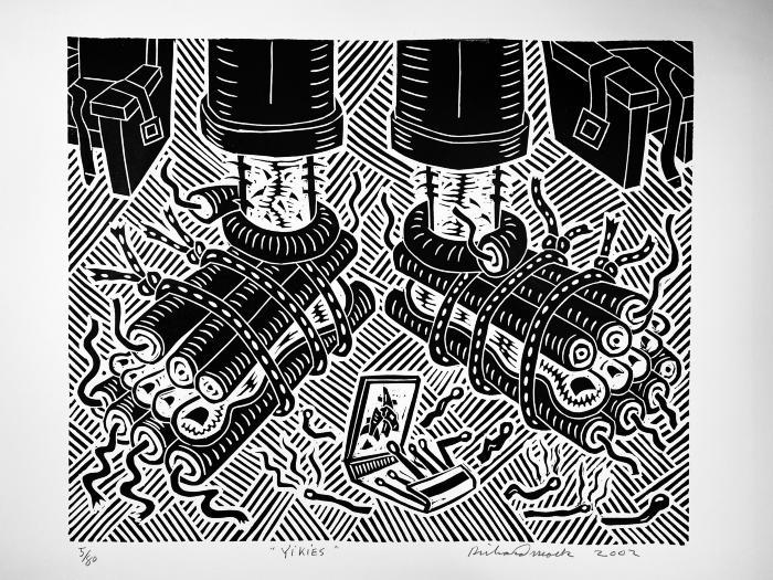 Yikies, linoleum block print, ed. 5/80, 2002