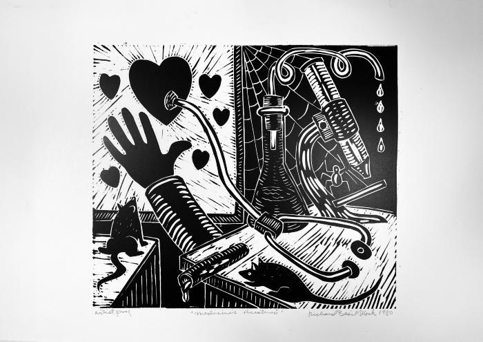 Richard Mock, Medicine's Threatened, linoleum block print, AP, 1980