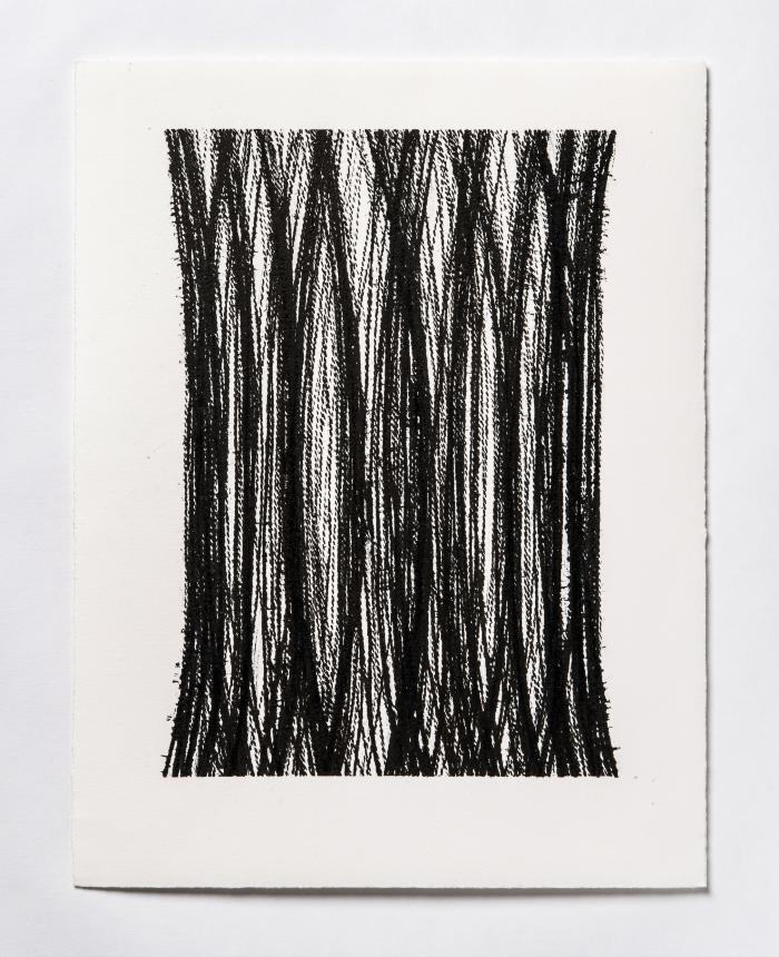 Lynne Tobin, Pillar Series #18, ink on paper, 15 x 11.5 in, 2019 (photo credit: Kenneth Elk)