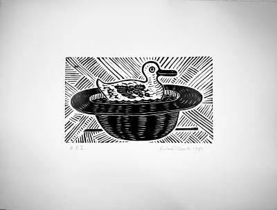 Richard Mock, No Title, linoleum block print, AP II, 1989
