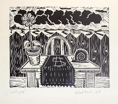 Richard Mock, No Title, linoleum block print (work proof), 1989