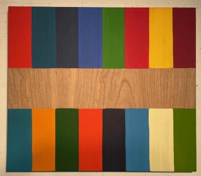 Ursula Schnieder, 16 Colors, acrylic on cherry wood panel, 2021