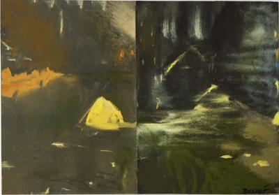 """Meredith Rosier, La Lumiere Jaune, conte, pastel and dirt on paper, 10"""" x 12"""", 2021"""