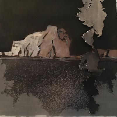 "Ellen Driscoll, Untitled 42a, ink, collage, organza on paper, 10"" x 10"", 2021"