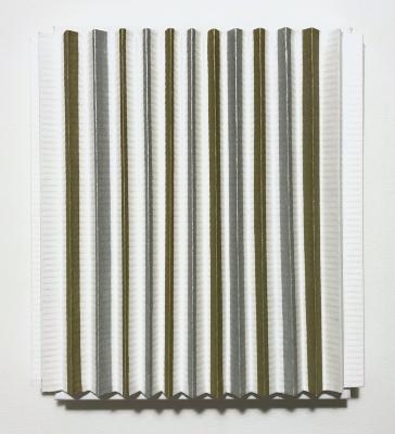 "Arezoo Moseni, Wayfarer, 90, dyes on folded paper mounted on canvas, 10"" x 9.5"" x 1.5"", 2021"