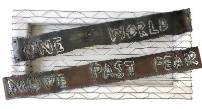 """Janet Goldner, One World, mixed media, 10"""" x 20"""", 2021"""