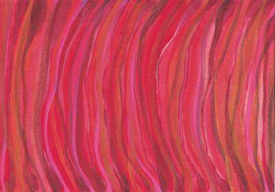 """Molly Heron, Red Flow, gouache, 5.75"""" x 8.25"""", 2020-21"""