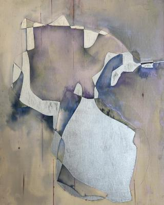 "Jim Napierala, Barakiel: Angel of Chance, watercolor and enamel on wood panel, 14"" x 11"", 2021"
