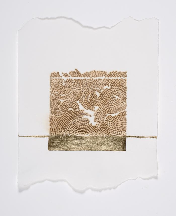 """Donna Ruff, Seam, gold leaf and burns on paper, 12"""" x 9"""", 2014"""