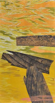"Cynthia Back, Walls Come Tumbling #3, woodcut, reduction linocut, chine colle, 22"" x 12"", 2013; Photo credit: Jack Ramsdale"