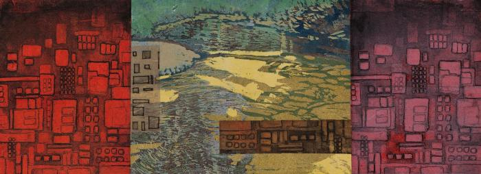 """Cynthia Back, Encroachment, reduction woodcut, aquatint, chine colle, 8"""" x 22"""", 2011; Photo credit: Jack Ramsdale"""