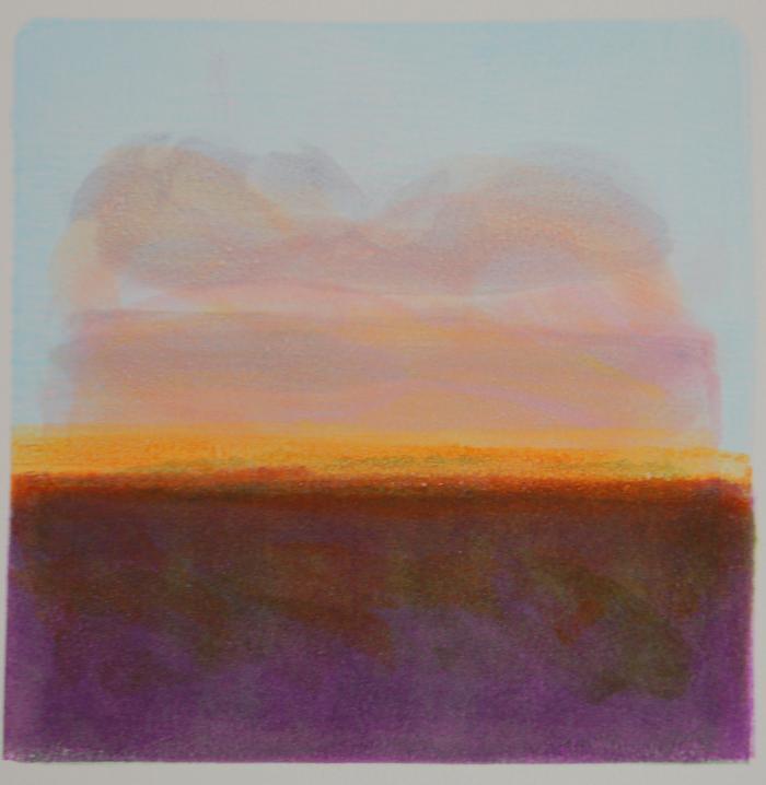"Jane Lincoln, Dusk, monotype, 8"" x 8"", 2014"
