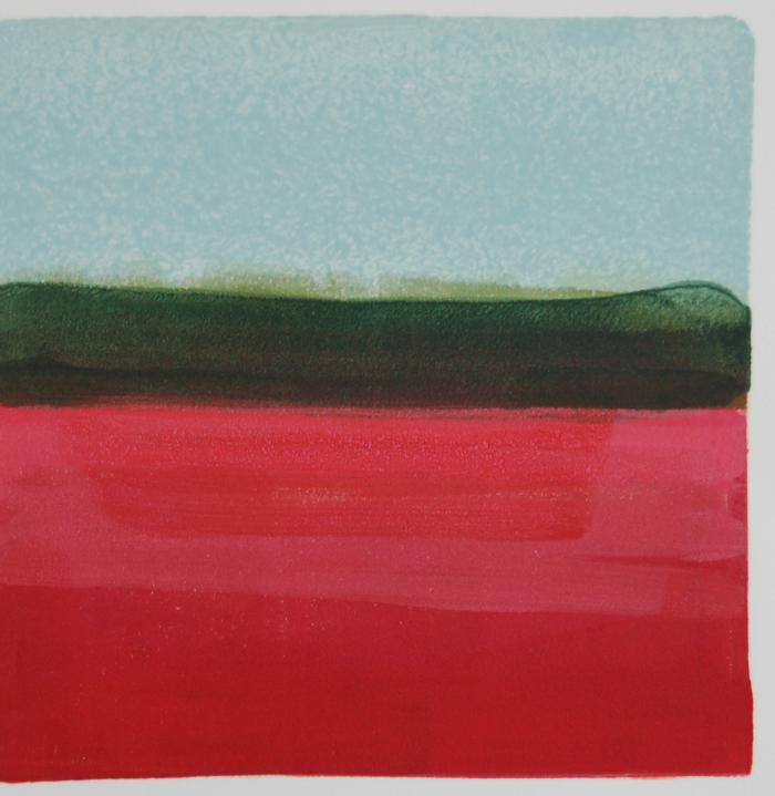 "Jane Lincoln, Cranberry, monotype, 8"" x 8"", 2014"