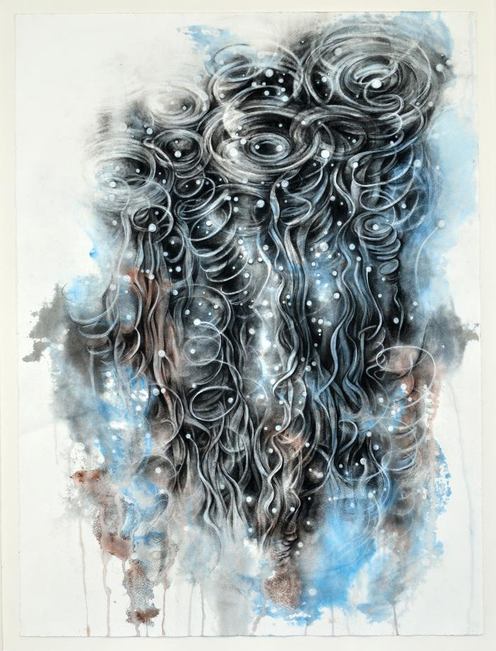 "Dawn Lee, Aquatic Series #2, Charcoal and India ink on paper, 30"" x 22"", 2012"